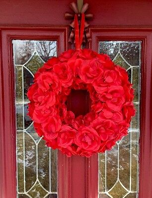 Valentines Day Heart Roses Door Decor Wall Hanging Wreath Swag FLORAL PICK Red