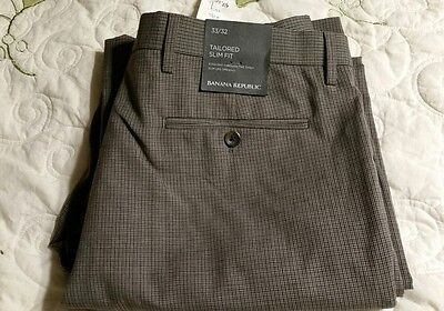 Banana Republic Tailored Slim Fit Wool Pants Men's 33 × 32 new with tags