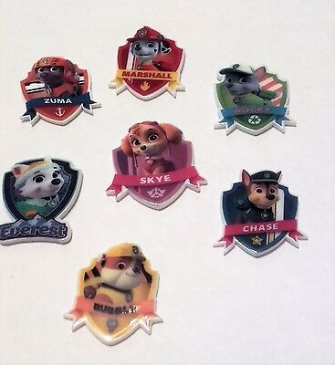 7 Paw Patrol resin flatback embellishments,35mm, ideal  for cakes, crafts & bows