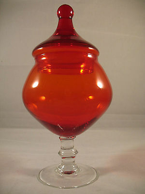 Empoli Italy Red Glass Lidded Pedestal Dish