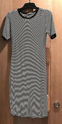 Maternity Black And White Striped Pencil Dress, S