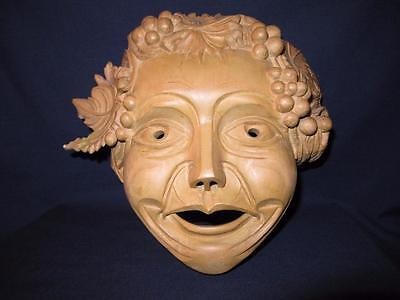 "Antique WOODEN MASK Hand Carved Wall Art 10"" x 11"" CAESAR Emperor"