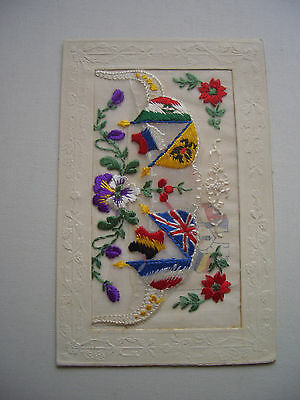 Embroidered Christmas card from the Front, December 1915, with message