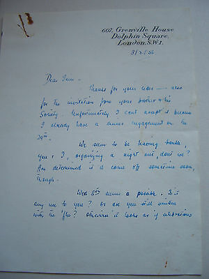 Signed letters from four 20th century novelists, 1950s