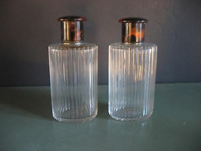 Antique PR Glass with Sterling Silver & Faux Tortoiseshell tops Perfume Bottles