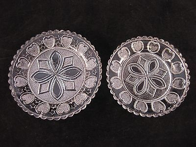 2 American FLINT GLASS CUP PLATES - Lacy Hearts Stars