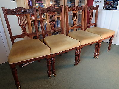 Edwardian Dining Chairs set of 4 Upholstered and Carved PICKUP WILTS