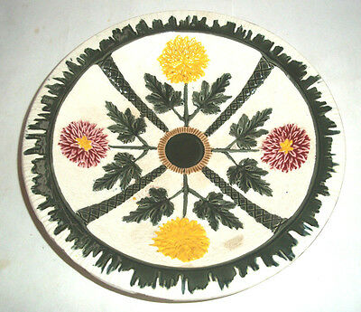 Rare Victorian Wedgwood Majolica Flower Plate  c1880