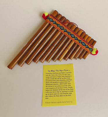 "13 Pipes Bamboo Pan Flute 5"" X 6 1/2"" For Beginners New Peru"