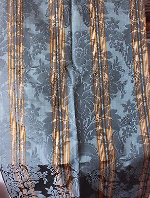 "French Lyon Antique c1890 Silk Home Dec Floral & Bows Fabric Textile~1y12""LX23""W"