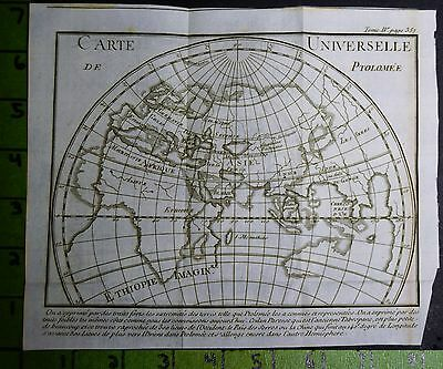 Antique Ancient World Map Engraving Printed 1739
