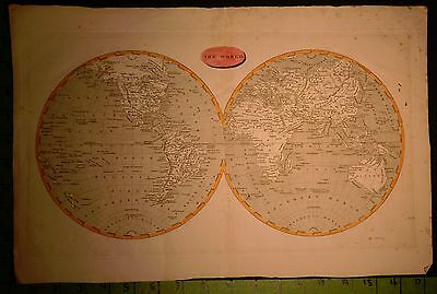 World Map Engraving Early 1800's 11x17 Inches