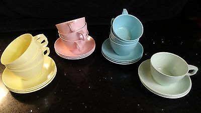 22 Piece Mallo-Ware Melmac Melamine Cup and Saucer set 4 color pastel