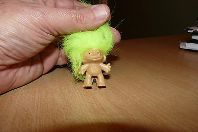 Vintage  Pencil End  Troll Doll - Yellow Hair - With Chain.
