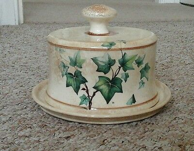 Large Vintage Covered Butter Cheese Dish Large Ivy Leaf Pattern