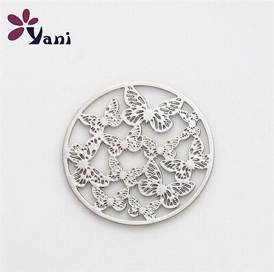 22mm discs Round Butterfly silver for Glass Living Memory Locket Floating Charm#