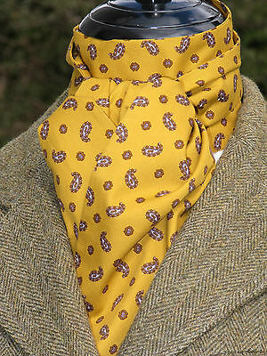 Self Tie Mustard And Brown Small Paisley Design Cotton Stock