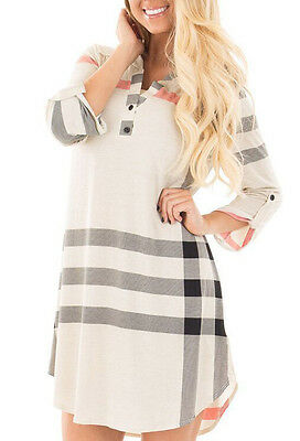 Women Autumn Casual Long Sleeve Stripe Evening Party Cocktail Mini Dress Blouse