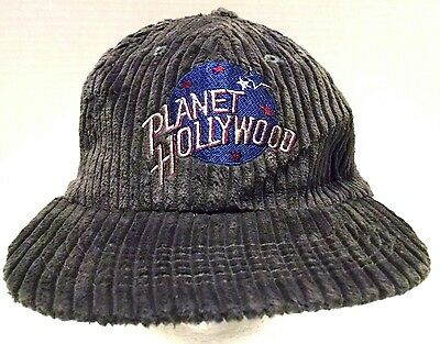 VINTAGE PLANET HOLLYWOOD CORDUROY HAT w/ tag 1995 Snapback Graphite Gray