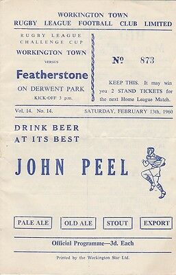 WORKINGTON TOWN v FEATHERSTONE ROVERS 1959-60