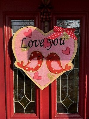 Valentines Day Heart Love Birds Door Wreath Wall Hanging Decor Swag FLORAL 19""