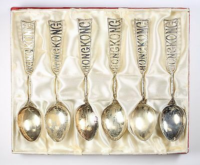 Lot of (6) Hong Kong 900 Silver Tea Spoons Chinese Vintage