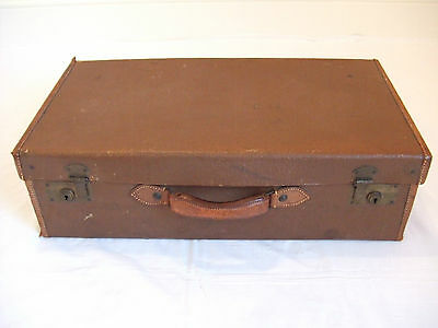 Leather And Canvas Suitcase Vintage 1930's
