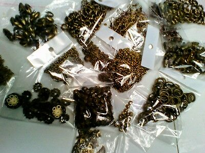 Jewellery making joblot - bronze colour. Great mix of beads & findings.
