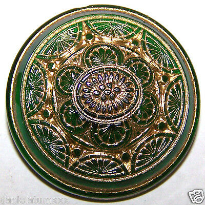 VINTAGE CZECH FLORAL EMERALD GREEN glass BUTTON - gold painted