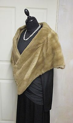Original Vintage 1940S Onwards Mink Colour Faux Fur Stole