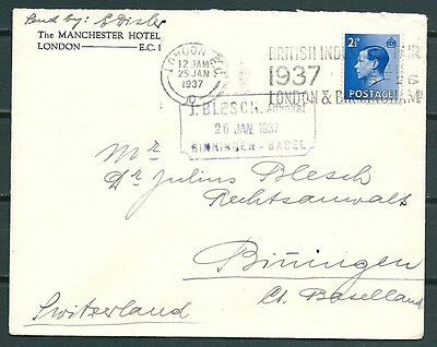 Gb 1937 Cover London To Switzerland, Nice Stamp & Postmarks -Cag 260916