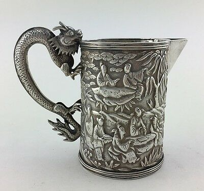 Rare 19thC Antique Chinese Export Silver Scene Dragon Tankard Mug Cup Beaker