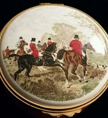 vintage  enamel pill box   with hunting scene on top