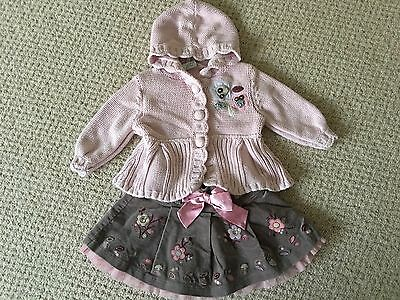 6-9 Next Pink Knitted Hooded Cardigan & Brown Velvet Satin Ribbon Skirt Outfit