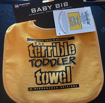 Pittsburgh Steelers Terrible Toddler Towel baby bib NWT black gold