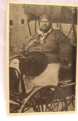 1922 Gracemont Oklahoma Caddo Indian Biggest Indian in the World Ad Card