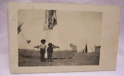 1911 Mountain View Oklahoma Indian Children at Painted Tepee RPPC