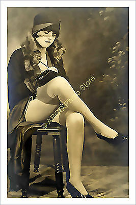 p341 pretty girl 1920s risque glamour beauty paintwashed art photo