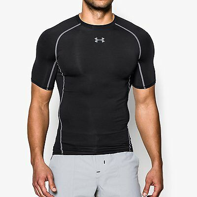 "Under Armour Heatgear ""Armour"" Compression Short Sleeve T-Shirt  BLACK   NEW."