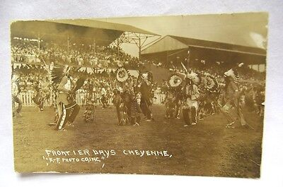 1900's Cheyenne Frontier Days Indians Dancing RPPC D. F. Photo Co.