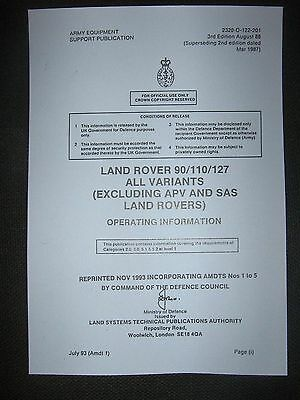 Military Army Land Rover 90 /110 TUM Operating information hand book