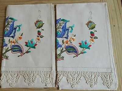 Vintage Pair Embroidered Crewel Work Jacobean Design Linen Chair Back Covers