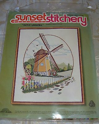 "Vintage Sunset Stitchery crewel embroidery kit  ""Dutch Windmill"""
