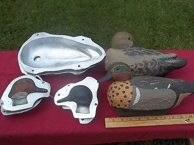 Duck decoy mold. Life size green wing teal set. Choice head!