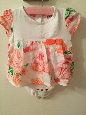 Baby girl ted baker Romper 0-3 months White With Flower Print