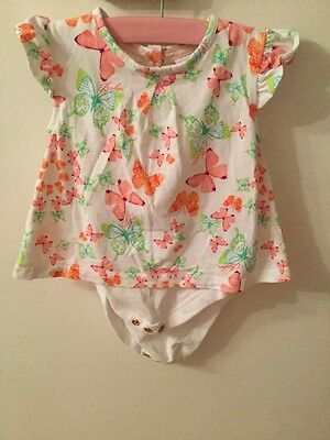 Baby girl ted baker Romper 3-6 months White With Butterfly Print