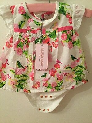 Baby girl ted baker Romper 3-6 months Bnwt White With Butterfly Print