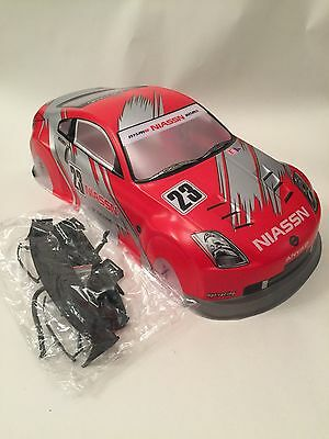 Nissan 350z Red Race 1/10 Body Shell RC Car Drift Off Road 190mm Silver Fairlady