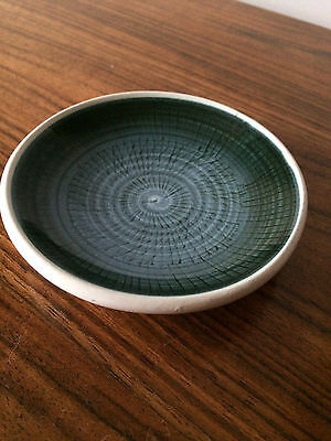 Vintage Rye Small Bowl 1950's RYE Pottery small dish LARGE Mid Century MCM Green