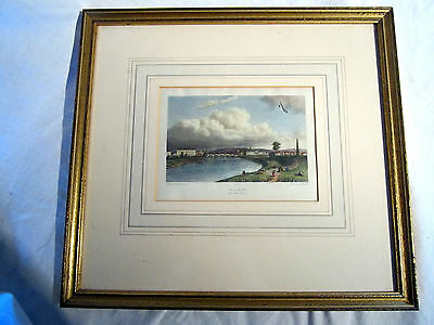 Antique Coloured Engraving Of Glasgow From The Green